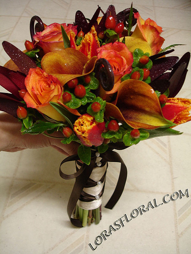 Flowers & Decor, orange, Bride Bouquets, Flowers, Roses, Bouquet, Tulips, Calla-lilies