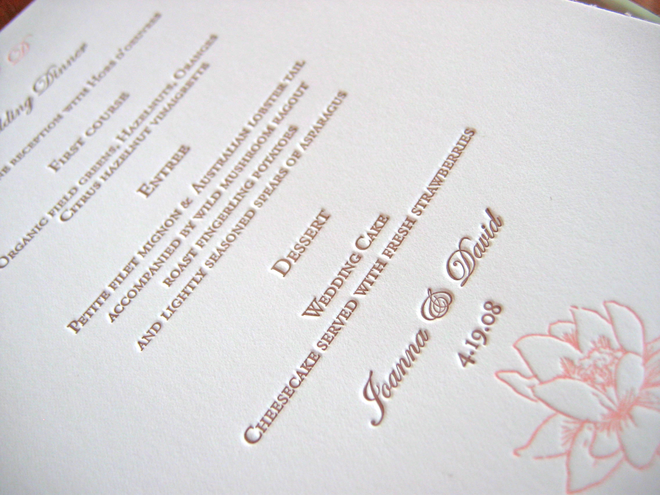 Flowers & Decor, Flower, Menu, Peach, Letterpress