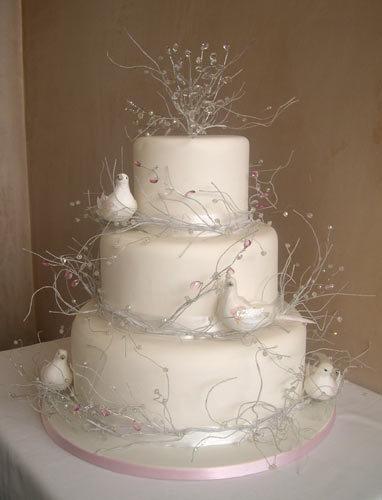 Cakes, white, cake, Birds
