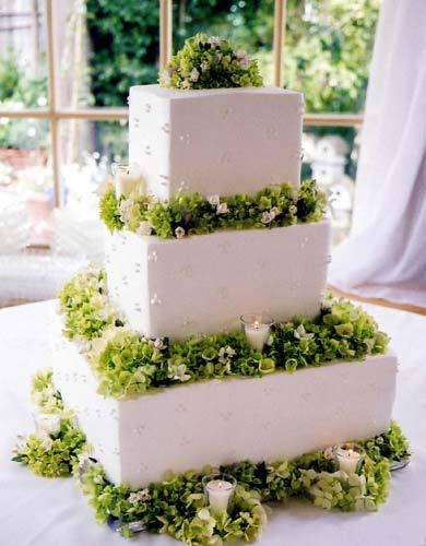 Flowers & Decor, Cakes, white, green, Flowers