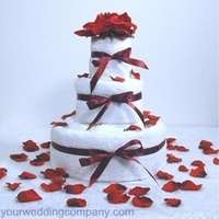 Flowers & Decor, Decor, Cakes, red, burgundy, cake, Ribbon Wedding Cakes, Bridal Shower, Party, Gift, Rose, Ribbon, Satin, Petals, Shower, Decoration, Your wedding company, Table decoration, Rose petals, Towel cake