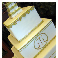 Cakes, white, gold, cake, Square Wedding Cakes, Square, Sugar butter flour