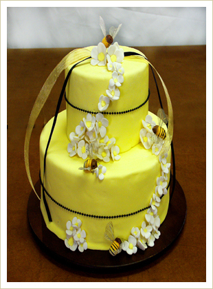 Cakes, yellow, cake, Sugar butter flour, Bee