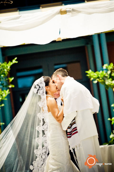 Ceremony, Flowers & Decor, Veils, Fashion, Bride, Groom, Veil, Kiss, Orange turtle photography