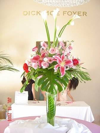 Flowers & Decor, white, pink, green, Centerpieces, Flowers, Centerpiece, Tropical, Unique, Floral, Designer, Design, Florist, Leaves, Maria, Masterson