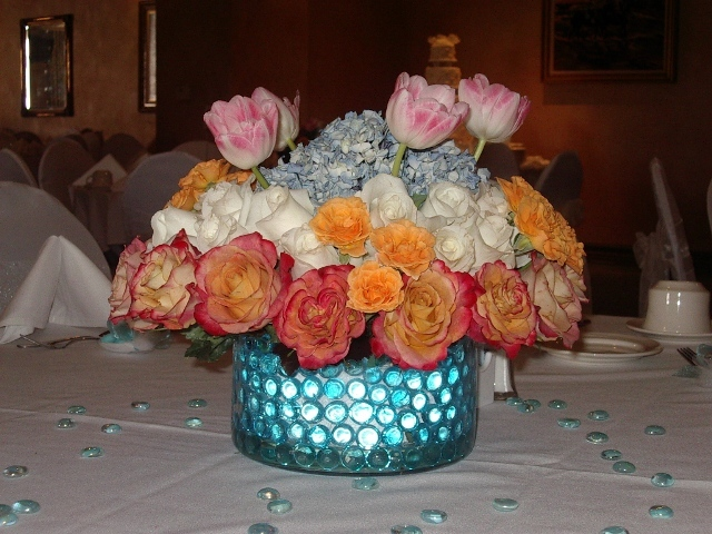 Flowers & Decor, orange, pink, blue, Centerpieces, Flowers, Centerpiece, Table, Unique, Floral, Designer, Ocean, Design, Florist, Sea, Maria, Masterson