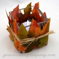Reception, Flowers & Decor, orange, green, brown, Centerpieces, Fall, Square, Centerpiece, Candle, Table, Glass, Decoration, Autumn, Your wedding company, Leaves, Raffia, Silk leaves