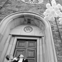 white, black, Church, And, Couple, Lorraine daley wedding photography, Ballons