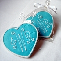 Favors & Gifts, blue, Favors, Cookies, Monogram, Tiffany, Heart
