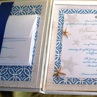 Stationery, blue, invitation, Beach, Beach Wedding Invitations, Invitations, Wedding, Nautical, Starfish, Box, Silk, Lela new york