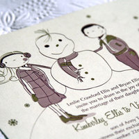 Stationery, ivory, gold, invitation, Winter, Invitations, Wedding, Custom, Letterpress, Snowman, Cranberry