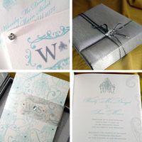 Stationery, blue, silver, Invitations, Crystals, Lela new york