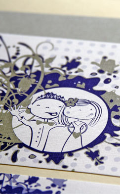 Stationery, blue, silver, Invitations, Wedding, Letterpress, Whimsical