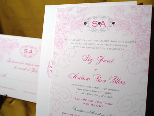 Stationery, pink, Invitations, Crystals