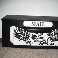white, black, And, Damask, Cardbox