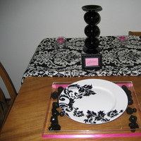 white, black, And, Damask, Fuchsia