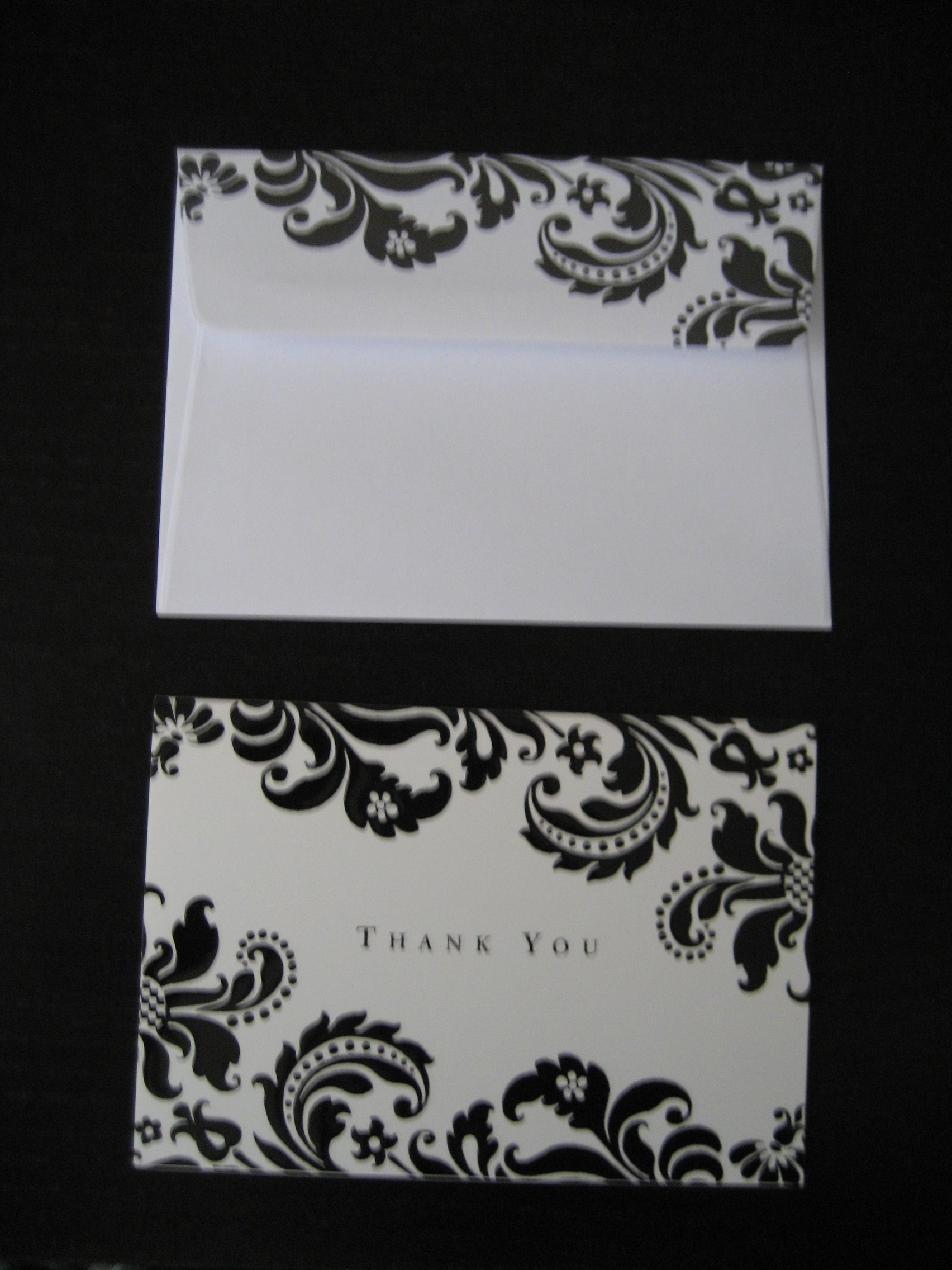 white, black, And, Card, You, Thank, Damask
