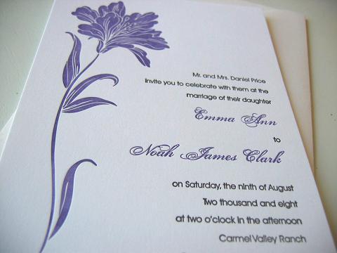 Stationery, purple, Invitations, Letterpress