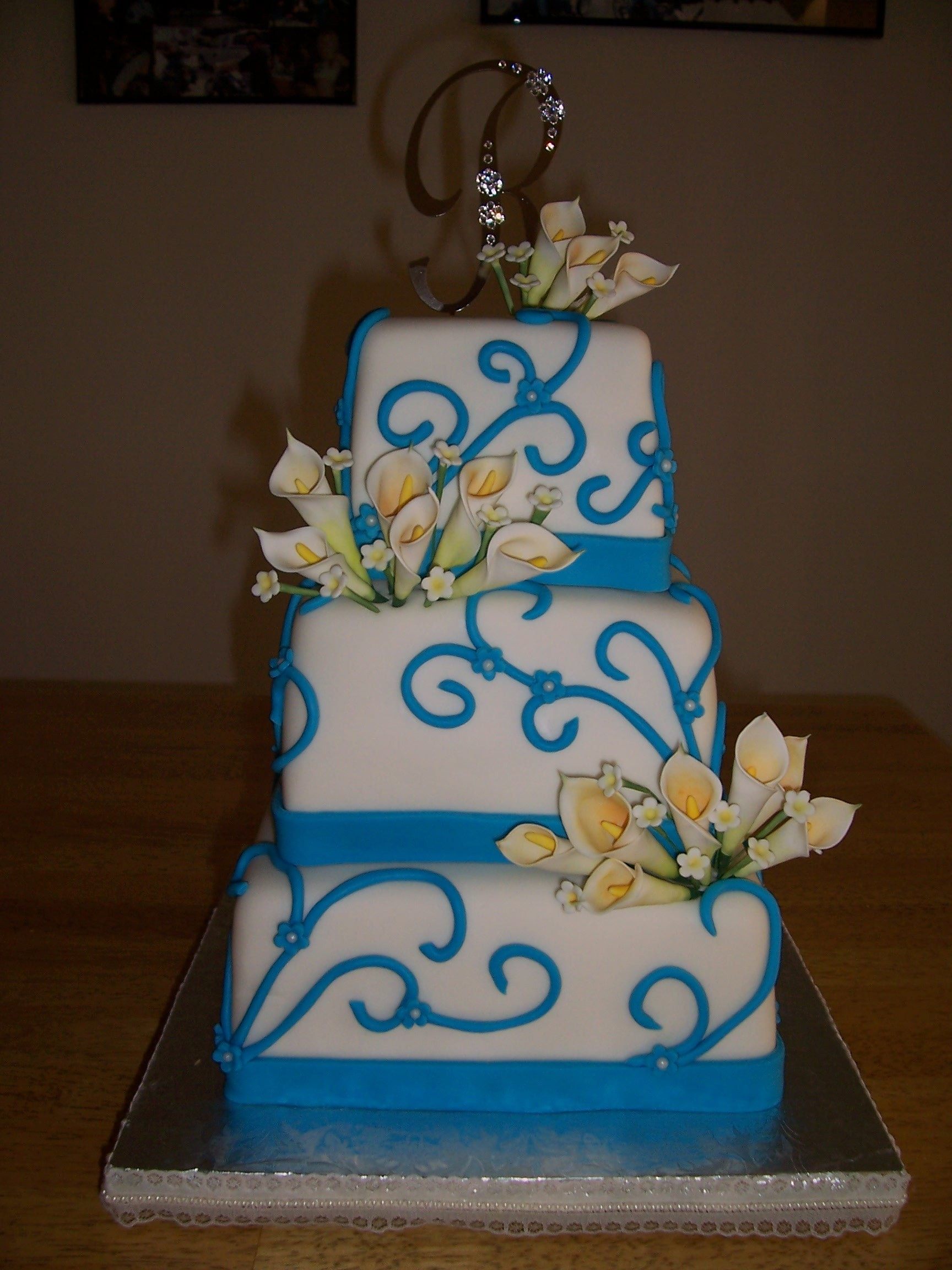 Cakes, blue, cake, Square Wedding Cakes, Square, Fondant, Tiffany, Callas, Sandras cakes, Swirls, Tiers
