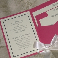 Stationery, pink, invitation, Invitations, Ribbon, Pocketfold, Fuchsia, Custom wedding invitations by chrissy arnold, Pocket fold