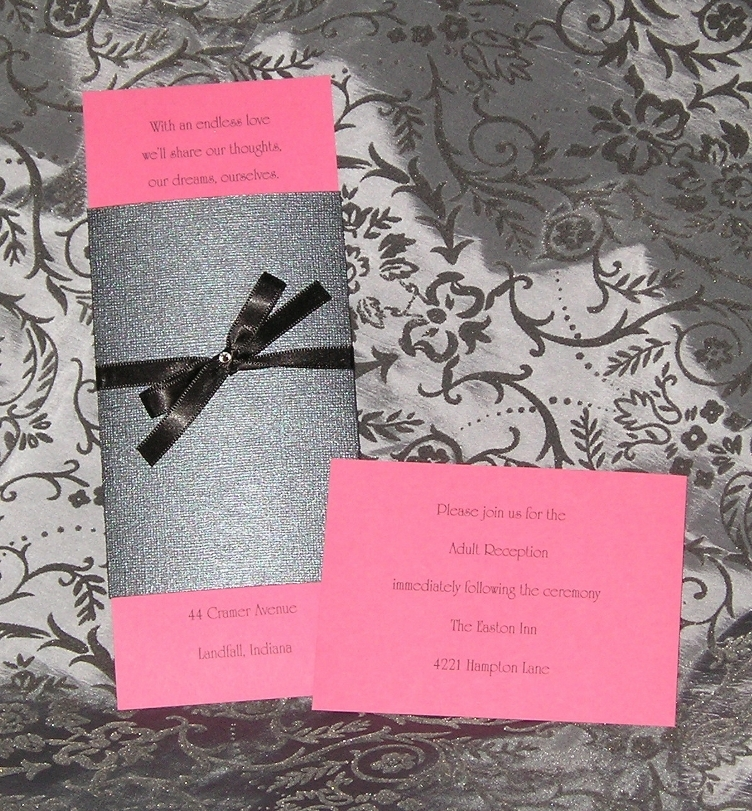 Stationery, black, invitation, Invitations, Grey, Ribbon, Jewel, Rhinestone, Fuchsia, Custom wedding invitations by chrissy arnold, Charcoal, Belly band
