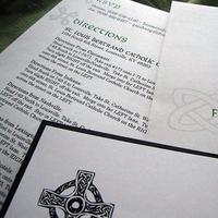 Stationery, green, black, invitation, Invitations, Invite, Blustery day design, Cross, Celtic