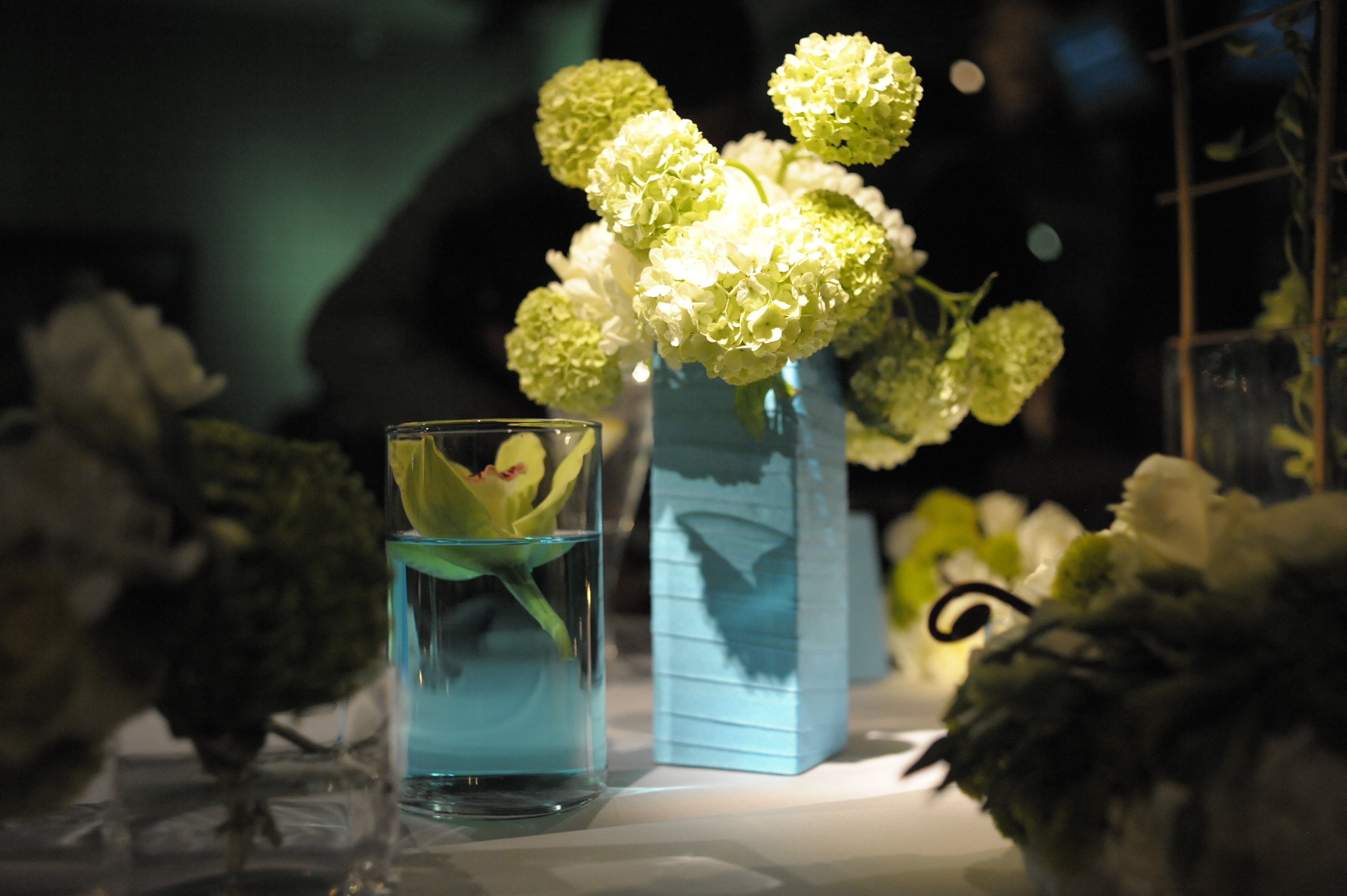 blue, green, Centerpieces