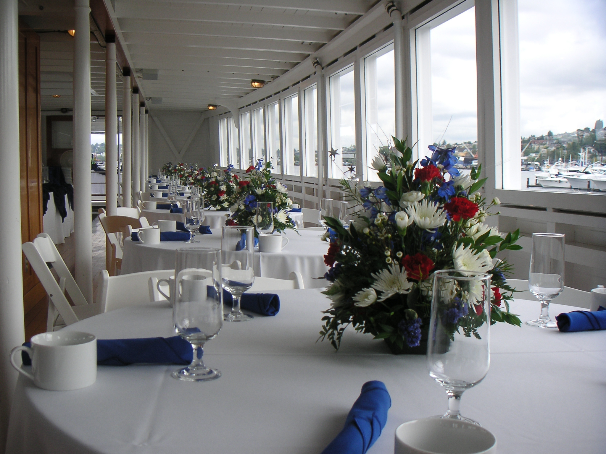 Reception, Flowers & Decor, Flowers, Virginia v steamship, Table setup