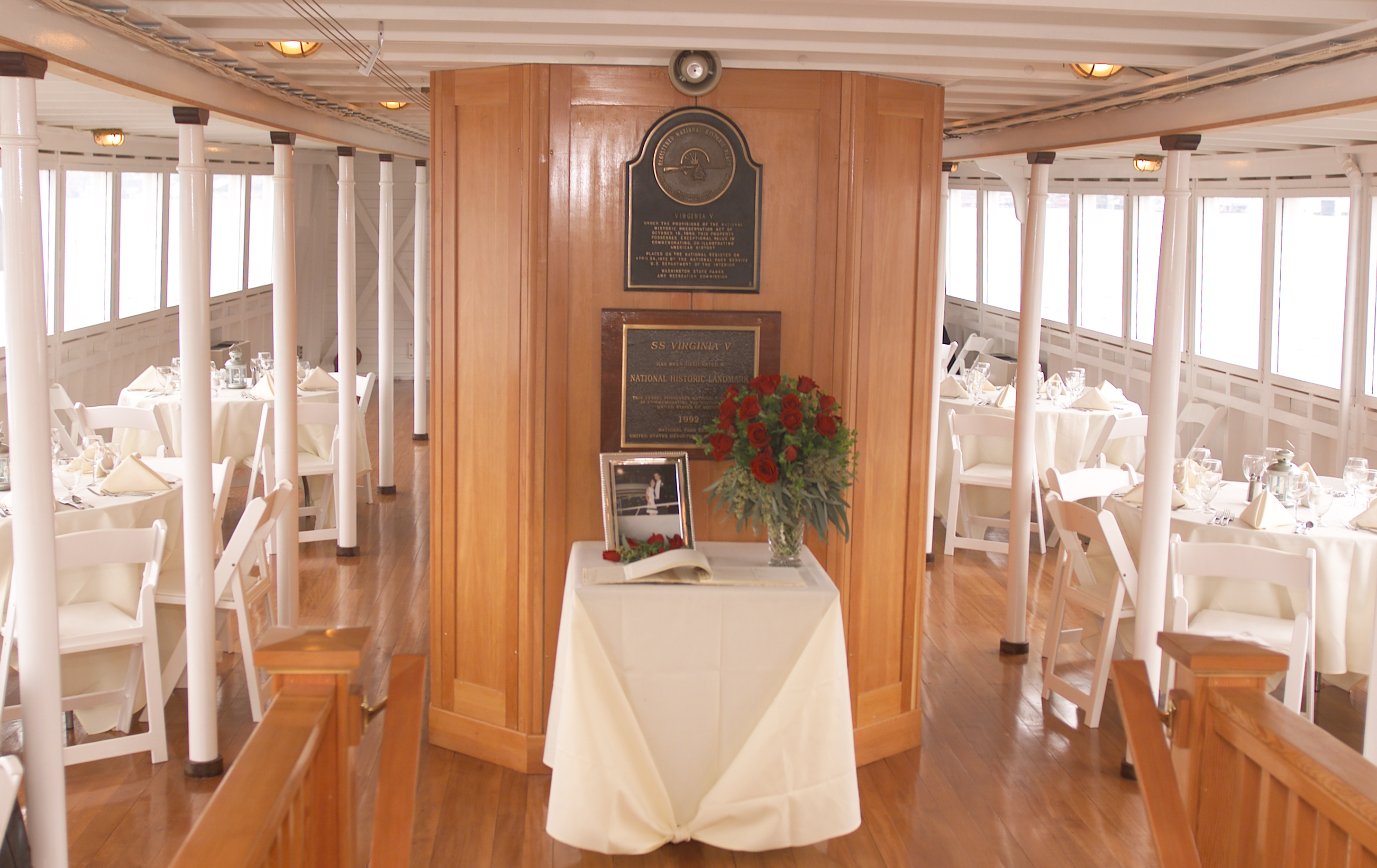 Reception, Flowers & Decor, Destinations, Cruise, Boat, Ship, Virginia v steamship, Table setup