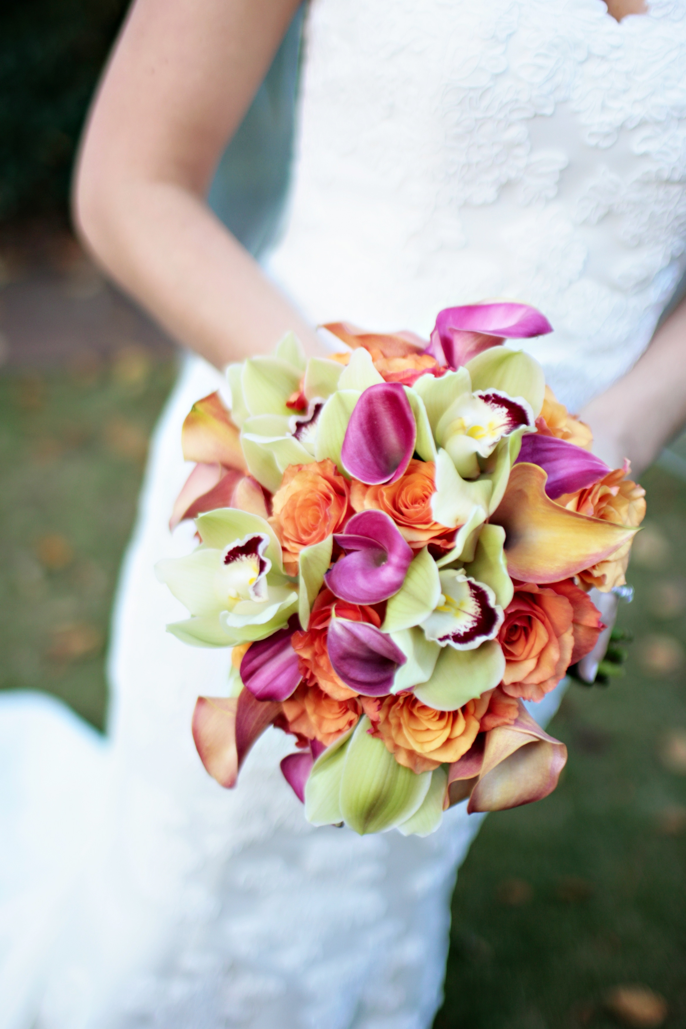 orange, pink, green, Bride, Bouquet, Cymbidium, Callas, Viridis, Mozart