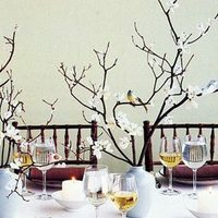 blue, Centerpiece, Table, Birds, Tree