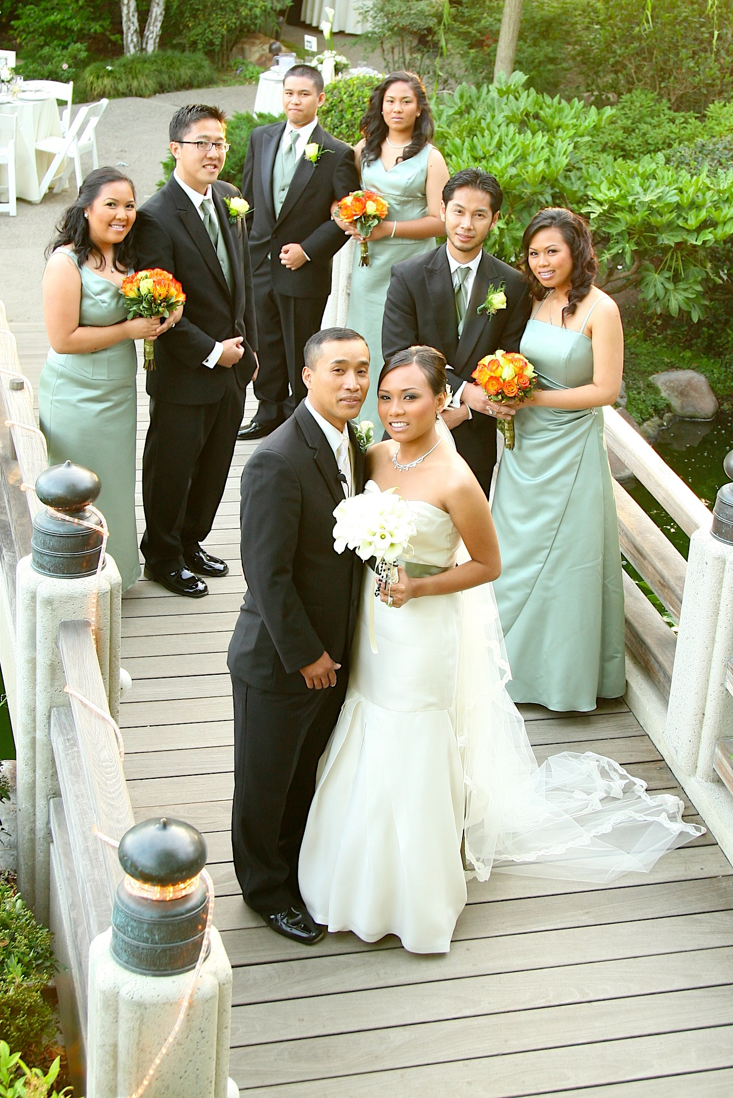 Bridesmaids, Bridesmaids Dresses, Fashion, white, orange, green, gold, Wedding, Party