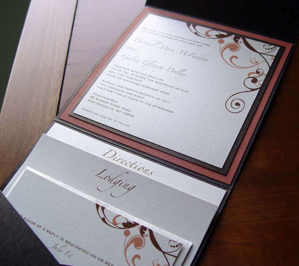 Stationery, Invitations, Envelopments, Crescent moon paper, Swirls, Pocketfolds