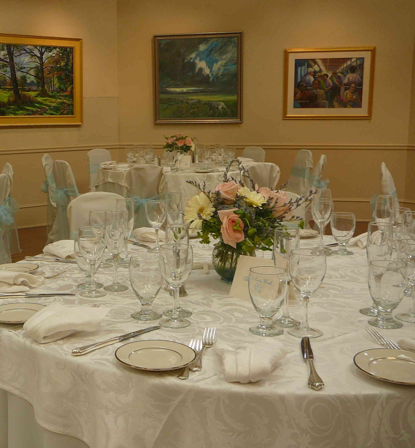 Reception, Flowers & Decor, Centerpieces, Centerpiece, Linens, China, Rockport art association