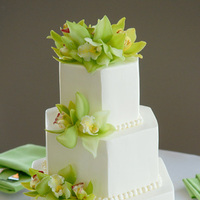 Cakes, white, green, cake, Square Wedding Cakes, Square, Orchids, Freestyle weddings