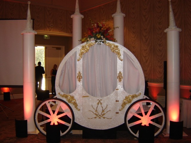 Flowers & Decor, Decor, Chair, Linens, Rentals, Covers, Sashes, Carriage, Chair covers sashes by party pros, Chair cover, Cinderellas carriage by party pros