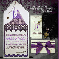Stationery, purple, Invitations, Custom, Tulle, Gothic, Dlsh design