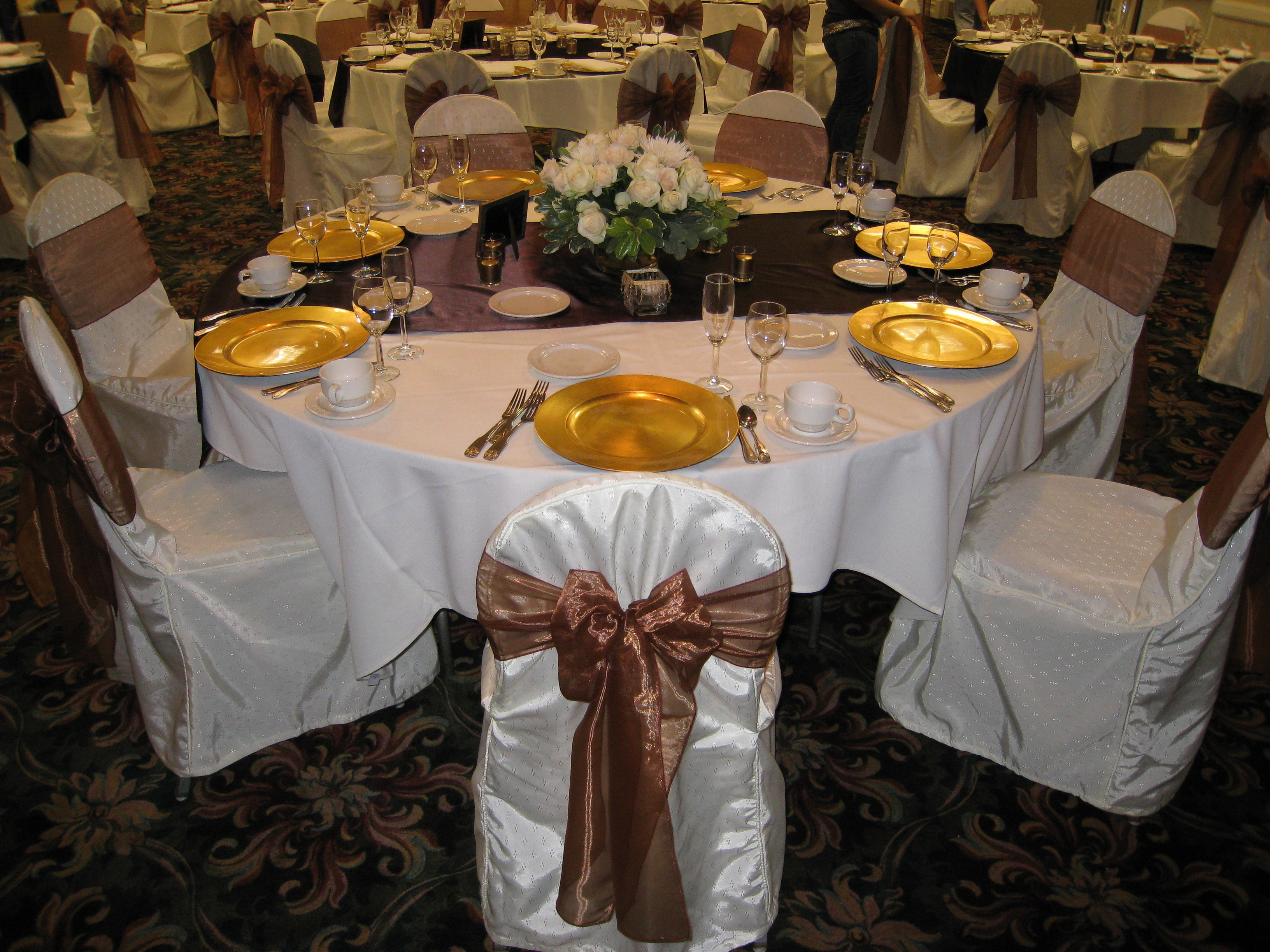 Decor, Chair, Sashes, Covers, Linens, Rentals, Chair covers sashes by party pros, Chair cover, Flowers & Decor