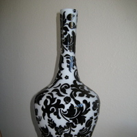 white, black, Vase, Damask