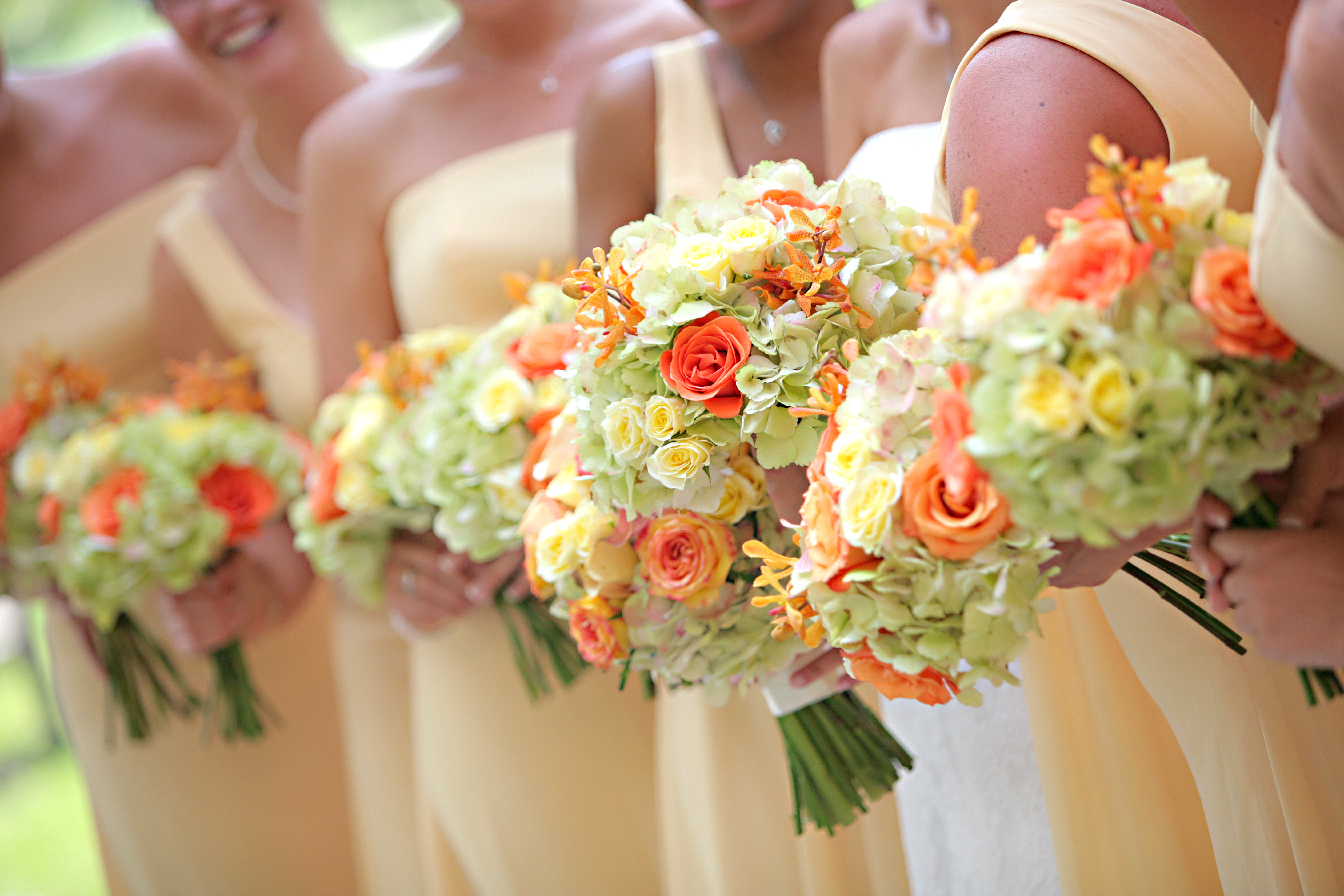 yellow, orange, Calla lily, Hydrangea, Bouquets, Viridis, Cala lily, Orange orchids