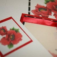 Wedding invitation, Blossom accents, Handmade wedding invitation, Poppy wedding invitation