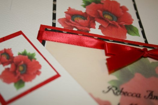 Wedding invitation, Blossom accents, Handmade wedding invitation, Poppy wedding invitation