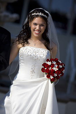 Down, Bride, The, Aisle, Smiling, Alone