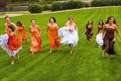 Bridesmaids, Bridesmaids Dresses, Fashion, orange, brown, Gown, Party, Bridal, Fun, Grass, Running, Having, Shoeless