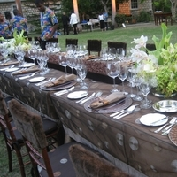 Reception, Flowers & Decor, brown, Garden, Outdoor, Custom, Table, Long, Linen, Polka, Dot, Tealight weddings events