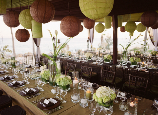 Reception, Flowers & Decor, Decor, Destinations, green, brown, Mexico, Beach, Tables & Seating, Flowers, Beach Wedding Flowers & Decor, Modern Wedding Flowers & Decor, Chiavari, Destination, Chairs, Hanging, Lanterns, Seaside