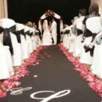 ivory, pink, black, Bride, Groom, Monogram, Planned to perfection, Custom aisle runner