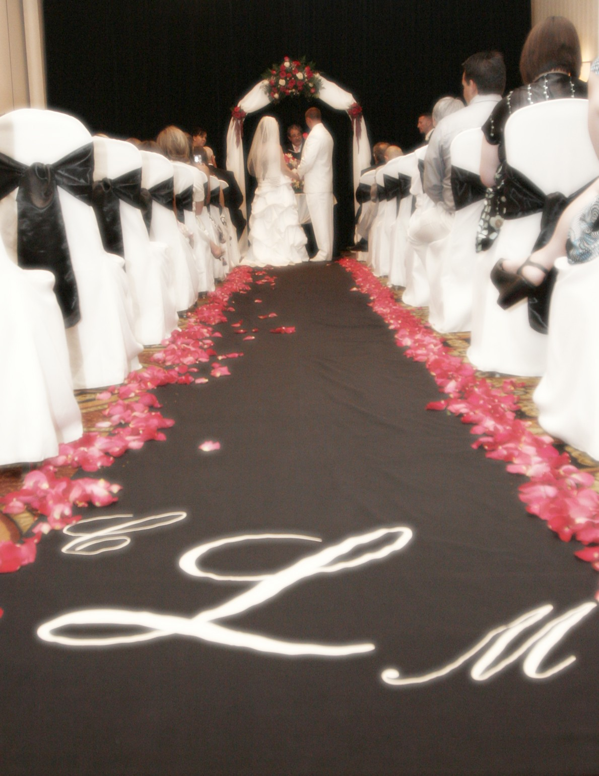 ivory, pink, black, Bride, Groom, Monogram, Planned to perfection, Custom aisle runner