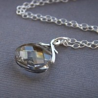 white, silver, gold, Bride, Custom, Bridesmaid, Crystal, Necklace, Swarovski, K garner designs, Pendant, Sterling