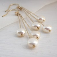 Jewelry, yellow, gold, Earrings, Modern, Bride, Bridesmaid, Bridal, Pearls, Pearl, K garner designs, Dangle
